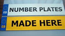 NUMBER PLATES 1 PAIR GB REGISTRATION PLATES DVLA/MOT LEGAL FREE FIXINGS