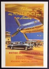 FLY THE ROLLS-ROYCE WAY Reproduction POSTCARD Poster BEA Airways AIRLINE DGA 18