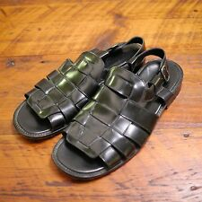 COLE HAAN City Made in Italy Black Leather Greek Fisherman SANDALS 12M 46.5
