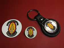 BSA MOTORCYCLES Ltd.  LEATHER KEY RING, GOLD PLATED BADGE  +   BSA PHONE STICKER