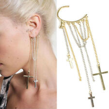Cool Rock Punk Cross Long Tassels Ear Cuff Earrings Chain Eardrop