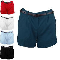 Ladies Shorts With Belt Pockets Coloured Stretch Casual Summer Mini Hot Pants