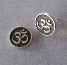 925 Silver Hindu Ohm Aum Hindu Krishna Mantra Yoga Round Organic Vegan Earrings