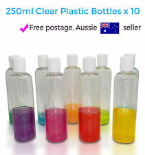 10 x New 250ml Clear Plastic Lotion Bottles Shampoo Shower Gel Travel Disc Cap
