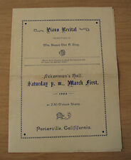 Antique 1902 PIANO RECITAL Program~ACKERMAN'S Hall~PORTERVILLE CA~