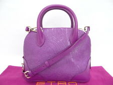Auth ETRO Shoulder Hand Bag Paisley Leather Purple $0 Shipping 99120026400 Q7B