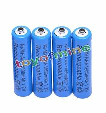 4x AAA 1800mAh 3A 1.2 V Ni-MH Blue Rechargeable Battery Cell for MP3 RC Toys