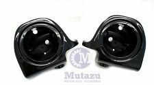 "Mutazu Vivid Black Lower Vented Fairing 6.5"" Speaker Pods for Harley Touring"