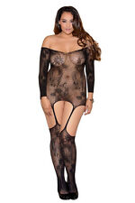 Plus Size Floral Lace Bodystocking Hosiery