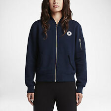 NEW Women's Converse MA-1 Fleece Bomber Jacket Size: Medium Color: Blue