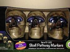 NEW Set Of Three Halloween LED Sound Activated Skull Pathway Markers With Sound