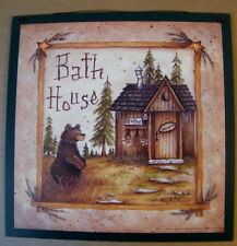 "11x11"" Country Primitive Bath House Wooden Bathroom Outhouse Wall Art Decor Sign"