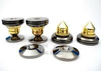 8x Speaker Spike Isolation Stand Cone With 8x Base Pads  +  RCA Plastic Cap B8S