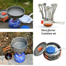 Camping Stove+Pot Pan Kit for Outdoor Backpacking Gear&Hiking Cooking Equipment