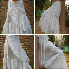 White Gypsy Skirt, Goa, Flamenco Style Wrap, Boho, Hippy, DIY Tie Dye Project?