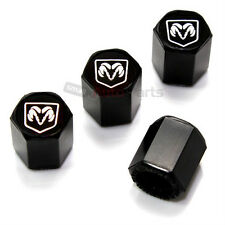 (4) Dodge Ram Silver Logo Black Tire/Wheel Air Pressure Stem Valve CAPS Covers