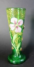 Fine & Rare MONT JOYE FRENCH Art Glass Vase w/ Applied Bees & Spider Web c. 1910