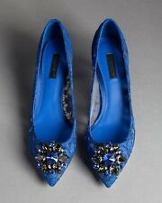 100% Authentic Brand New Dolce&Gabbana Blue Lace Pump Size 35.5