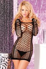 Sexy Stripper Dancer Wear Raver Seamless Black Net Mini Dress Clubwear PL-25006