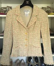 CHANEL 05P  beige green pink boucle blazer jacket 34 XS