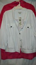 Autograph WHITE Summer LINEN blend coat jacket 26 cardi cardigan button front