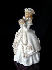 ViNTaGe LEFTON Porcelain China Lady Figurine~Handkerchief~ROSETTES~Feather Hat