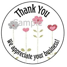 """THANK YOU - PRETTY FLOWERS #12 ~  1"""" STICKER / SEAL LABELS"""