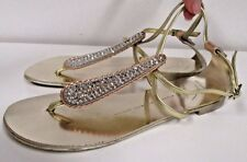 GIUSEPPE ZANOTTI  Pink and Yellow Gold Flat Sandals with Crystals - Size 36.5