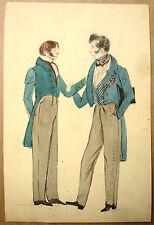 Ecole Anglaise Beau Dessin Ancien Deux Hommes se tenant par le bras Old Drawing