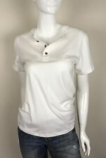 Alternative Earth 100% Organic Cotton 3 Button Henley Top White Size S NWT $48