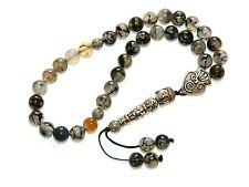 0162-prayer worry beads komboloi tasbih 8mm dragon vein agate gemstone beads