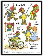 Suzy's Zoo Vintage Corky Turtle Let's Ride Buddy Friends Hi There Stickers