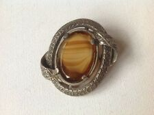 Vintage Miracle Brooch, Scottish Celtic style, Banded agate glass signed