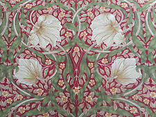 William Morris Curtain Fabric 'Pimpernel' 1.3 METRES (130cm)  Red/Thyme - Linen