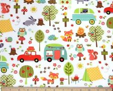 Michael Miller Camp Out RV Tent Picnic Fire Owl Fox White Fabric