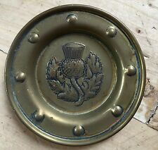 Lovely Vintage Brass with Patina Small Dish/Ashtray/Pintray Scottish Thistle
