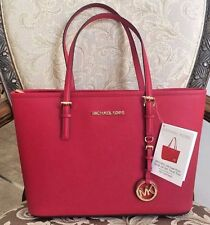 NWT Michael Kors Jet Set Small Travel Tote Saffiano Leather Handbag Red