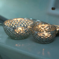 Vintage Style Tea Light Holder, Antique Silver Mercury Glass, Wedding Sumi Nkuku