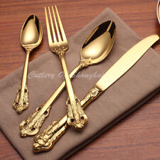 32 Pieces Stainless Steel 18/10 Gold Dinnerware Set 18th Century Replica Cutlery