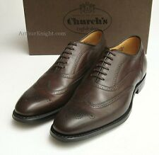 *NEW* CHURCHS SHOES Mens Formal Brown Leather Brogues Rubber Sole Burton UK 7 F
