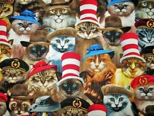Cats in Hats Siamese Long Hair Russian Blue Kitty Timeless Treasures Fabric Yard