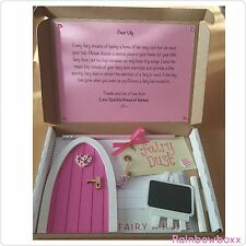 ♡ Pink personalised wooden fairy door package with little goodies.Hand painted ♡