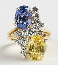 12 CT AGL YELLOW AND BLUE SAPPHIRE UNHEATED NO HEAT RING OSCAR HEYMAN