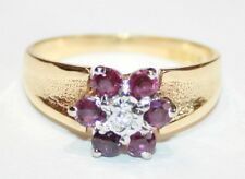 Vintage 18ct Or Bague Rubis & Diamant Taille J