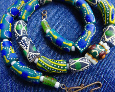 NEW Katy Wroe necklace handmade recycled blue green black fancy glass beads K114