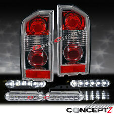 88-98 SUZUKI SIDEKICK TAILLIGHTS CHROME HOUSING PAIR LED DAYTIME RUNNING LIGHTS