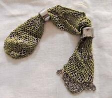 ANTIQUE VICTORIAN CUT STEEL BEADED GREEN KNITTED MISERS STOCKING PURSE c1840