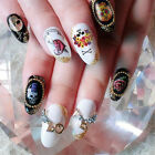 3D 10Pcs Punk Nail Art Tip Halloween Skull Decal Wrap Water Transfer Sticker DIY