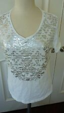 Chico's Knit Top/T Shirt top size 2 M 10/12 white with silver Foil print short s