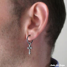 Cross Earring For Men in Dark Sterling Silver 925. Huggie Hoop 15mm with Charm